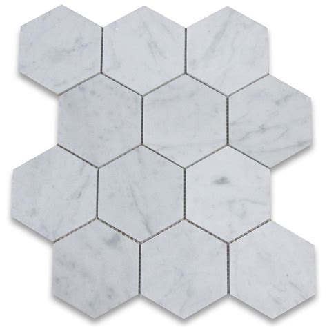 Carrara White 4 inch Hexagon Mosaic Tile Honed   Marble