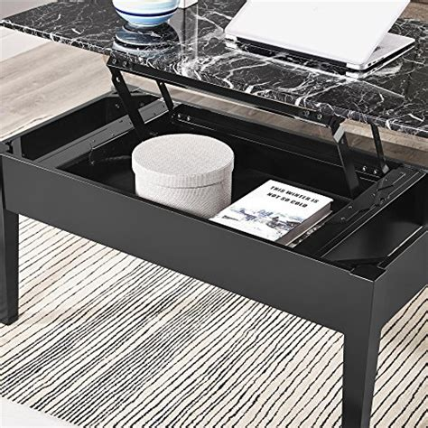 Lift Top Coffee Table Black Dorel Living Faux Marble Lift Top Storage Coffee Table Black New Ebay