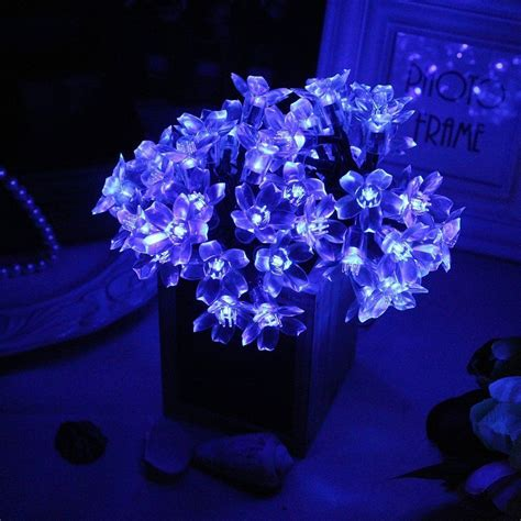 blue solar string lights 50 led blue solar powered garden outdoor wedding