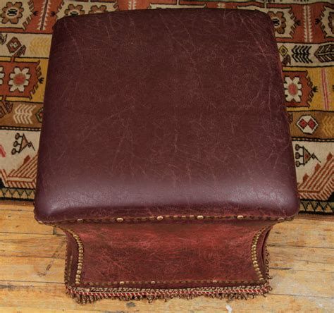 leather nailhead ottoman vintage distressed leather ottoman with nailhead detailing