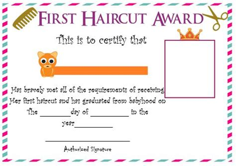 20 Free Baby S First Haircut Certificate Templates Attractive Designs Demplates Haircut Certificate Template