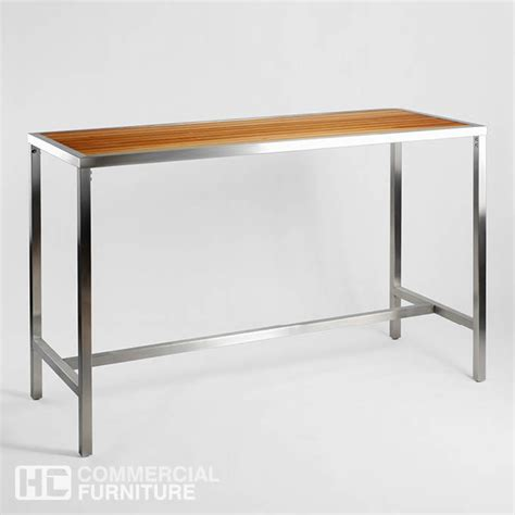 Stainless Steel Bar Table Db305 Teak Stainless Steel Bar Table Hccf Commercial Furniture