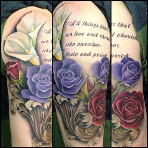 calla lily and rose tattoo david mushaney tattoos tattoos flower roses and