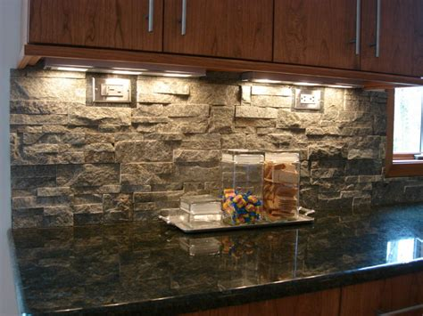 Stone Backsplashes For Kitchens | stacked stone backsplash contemporary kitchen cleveland by architectural justice