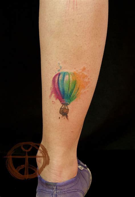 air tattoo unique colorful air balloon on leg