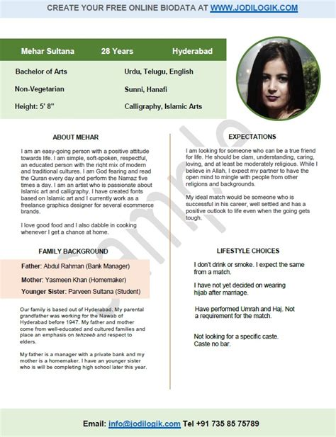 biodata format marriage biodata format for marriage 7 sles 2 bonus word