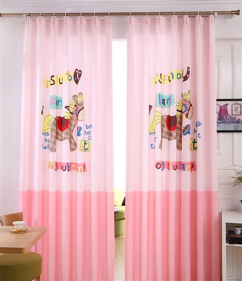 custom kids curtains pink animal print poly cotton blend color block custom