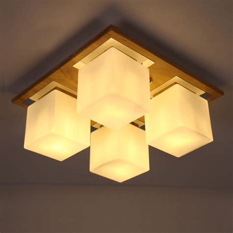 Brief Led Ceiling Light Chinese Style Rustic Solid Wood Asian Ceiling Light