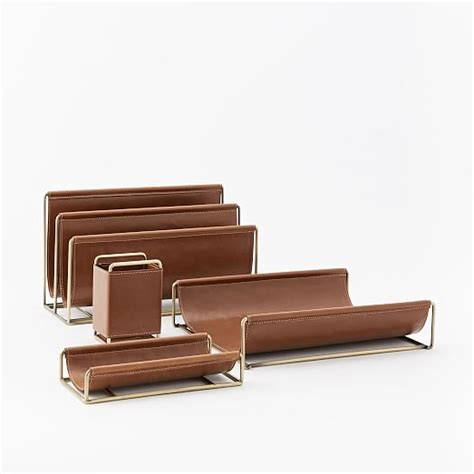 Faux Leather Desk Accessories Faux Leather Brass Office Accessories West Elm