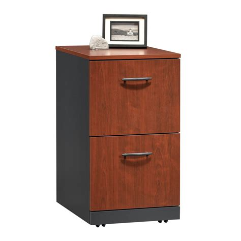 Sauder File Cabinet 2 Drawer by Shop Sauder Via Classic Cherry Soft Black 2 Drawer File