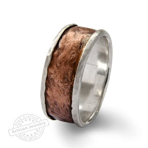 wide infinty band sterlind silver and copper spinners