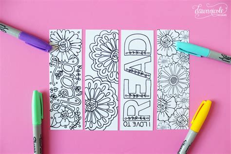 summer colouring bookmarks summer coloring page bookmarks dawn nicole designs 174 art