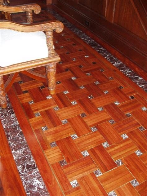 Hardwood Floors With Tile Inlay   Santos Mahogany Refinish