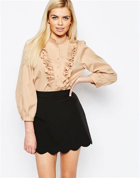 Blouse Ruffle ister camelia ruffle blouse in lyst