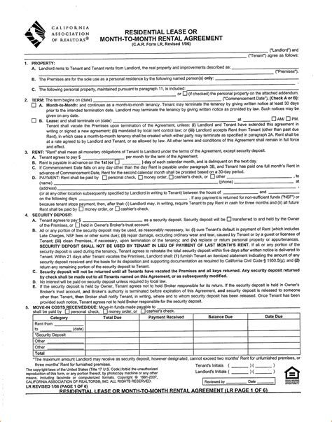 blank lease agreement california 7 rental agreement california printable receipt