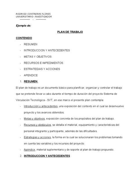modelo plan de trabajo scribd newhairstylesformen2014 com ejemplo plan de trabajo