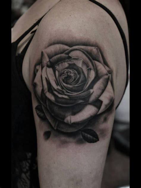 gray rose tattoo 3d black and grey on left shoulder