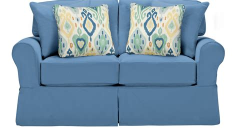 cindy crawford beachside slipcovers 735 00 beachside blue loveseat classic casual cotton