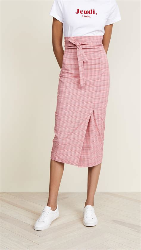 Tie Waist Pleated Plain Midi Skirt lyst stella jean striped waist tie midi skirt in