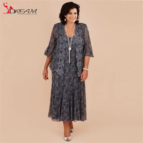 Plus Size Of The Dresses by Aliexpress Buy Plus Size Tea Length Gray Lace