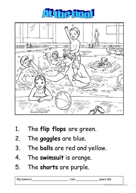 at the swimming pool worksheet free esl printable