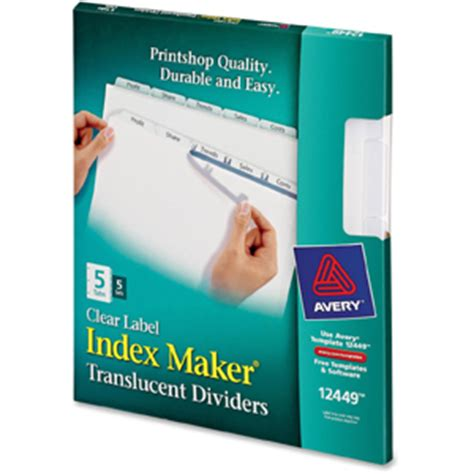 Avery 12449 Index Maker Easy Apply Clear Label Strips 5 X Divider S Blank Tab S 5 Tab S Easy Apply Label Strips For Avery Index Maker Template