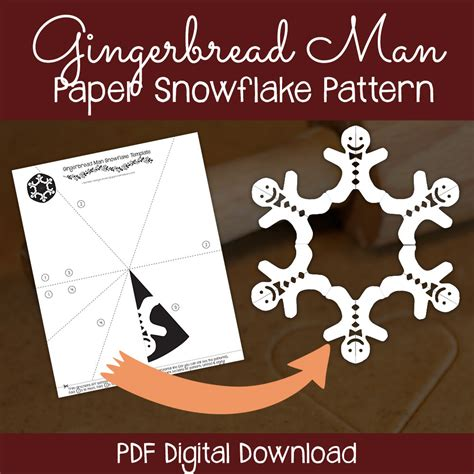 gingerbread man paper snowflake pattern