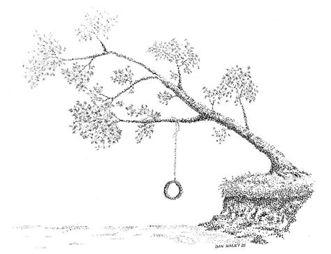 draw swing tree with tire swing drawing www pixshark com images