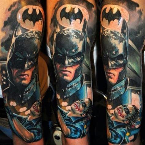 tattoo joker new school new school style colored sleeve tattoo of batman with