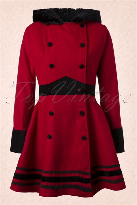 swing winter coat vintage mikaela hooded winter swing coat in red