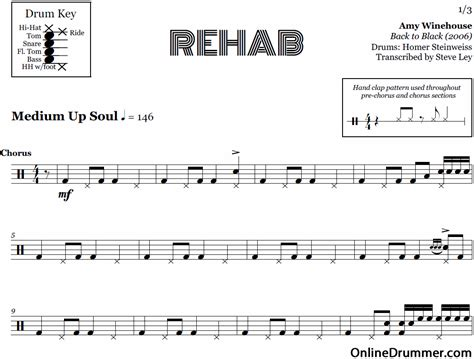 House Detox Song by Rehab Winehouse Drum Sheet Onlinedrummer