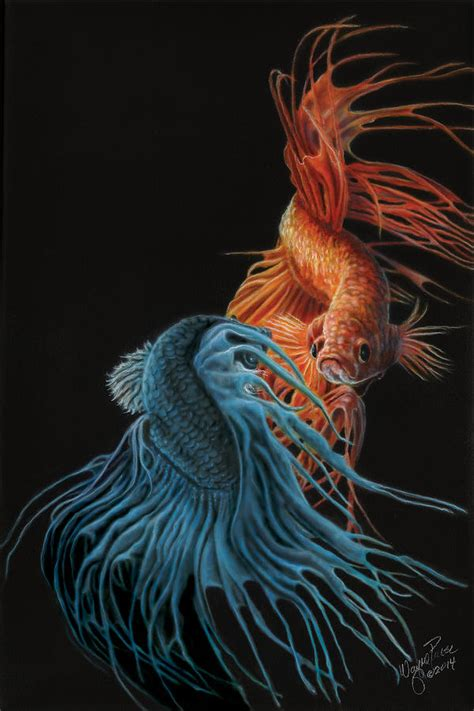 Banner Curtains Siamese Fighting Fish Two Painting By Wayne Pruse