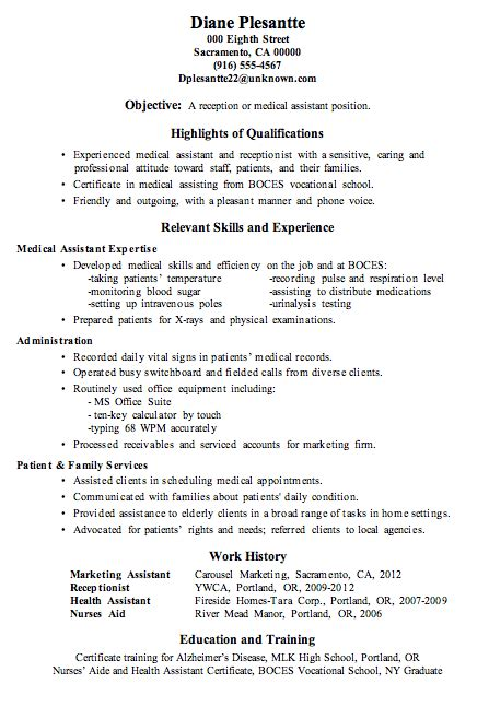 resume sle receptionist or assistant