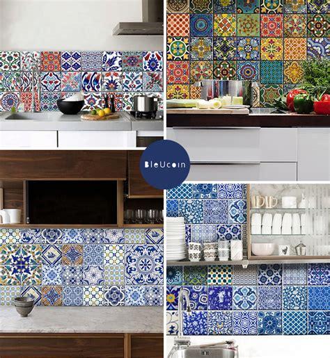 Moroccan Tile Kitchen Backsplash temporary tile cover up bleucoin tile decals door