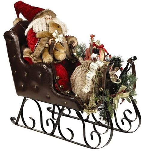 santa in sleigh traditional outdoor holiday decorations