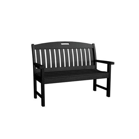 black patio bench polywood nautical 48 in black patio bench nb48bl the