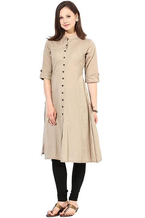 design house kurta online buy latest long khakhi color plain cotton fabric kurta online