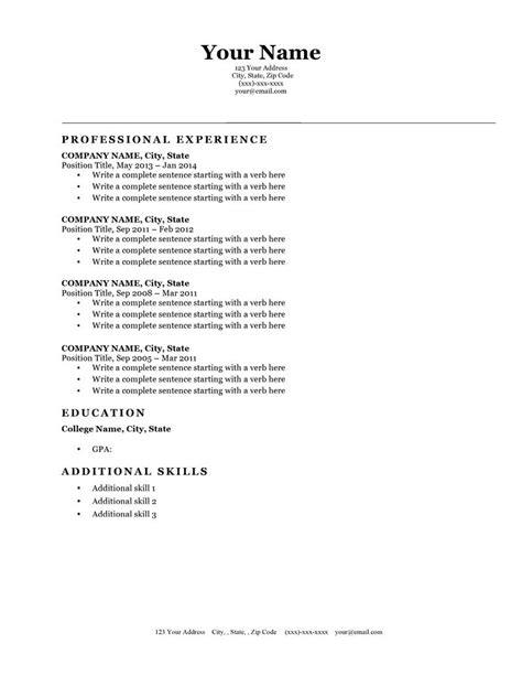 Expert Preferred Resume Templates Resume Genius Classic Resume Template