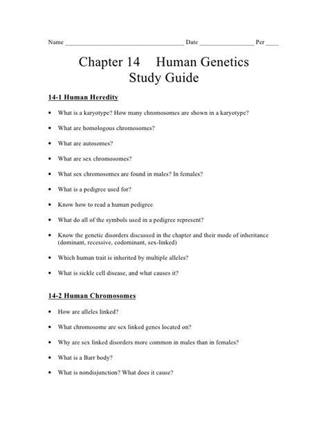 Biology - Chp 14 - Human Genetics - Study Guide