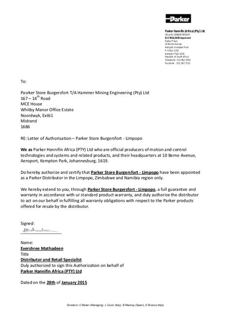 Letter Requesting Exclusive Distributor Letter Of Authorisation Burgersfort Limpopo Jan 2015 1