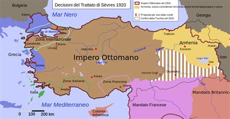 impero ottomano cartina file treaty sevres otoman it svg wikimedia commons