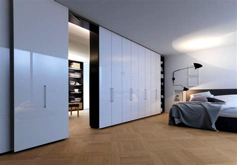 Walk in closet with white lacquered doors   Interior