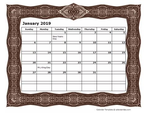 monthly calendar template  frame design  printable templates