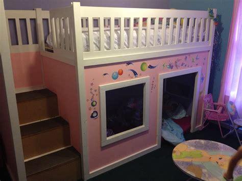 ana white playhouse loft bed  storage steps diy