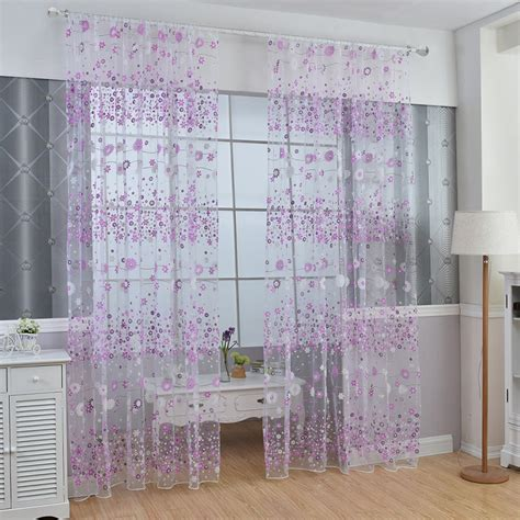 colorful sheer curtains colorful floral sheer voile scarf door window curtain