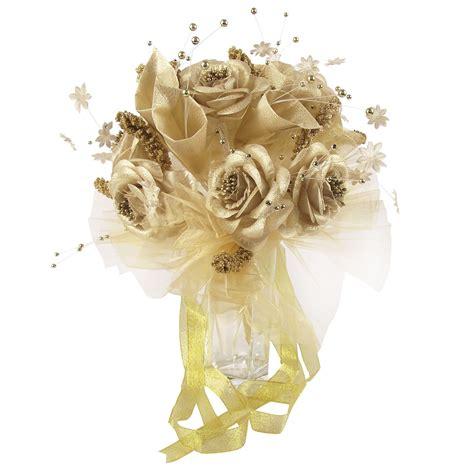 Bouqet Bunga Artificial metallic gold or silver bridal bouquet wedding