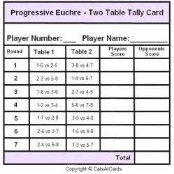 bridge tally template progressive euchre two table tally card print