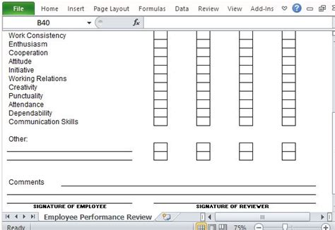 performance metric template performance review template for microsoft excel