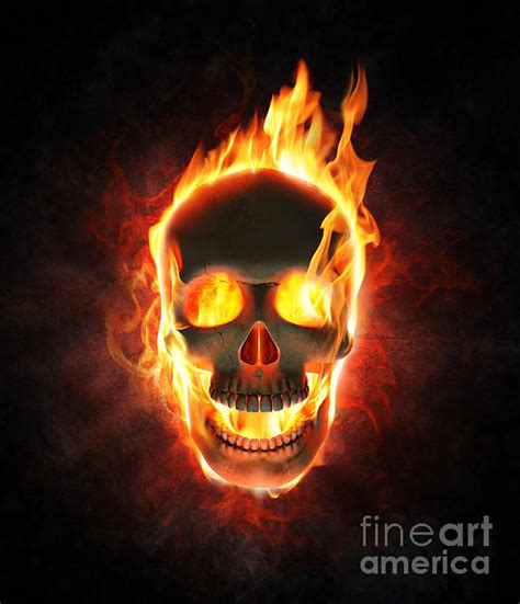In Flames 5 evil skull in flames and smoke duvet cover for sale by