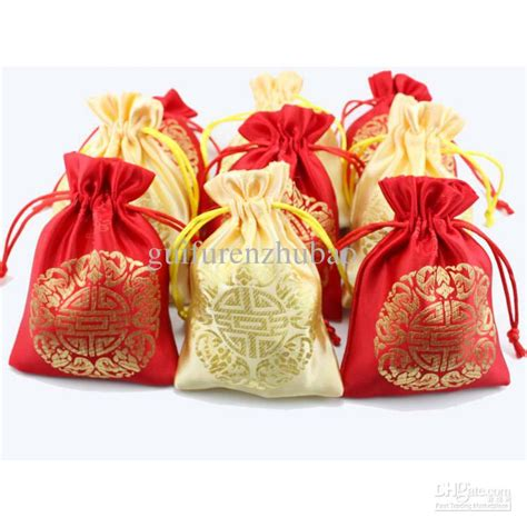 Cheap Small Silk Fabric Drawstring Bags Chinese Lucky